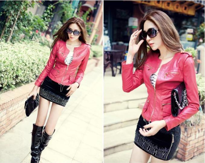 chaqueta de cuero de moda rojo  kitykatblog