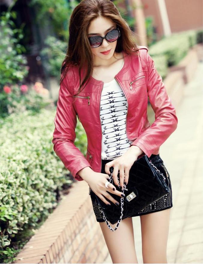 chaqueta de cuero kitykatblog rosada
