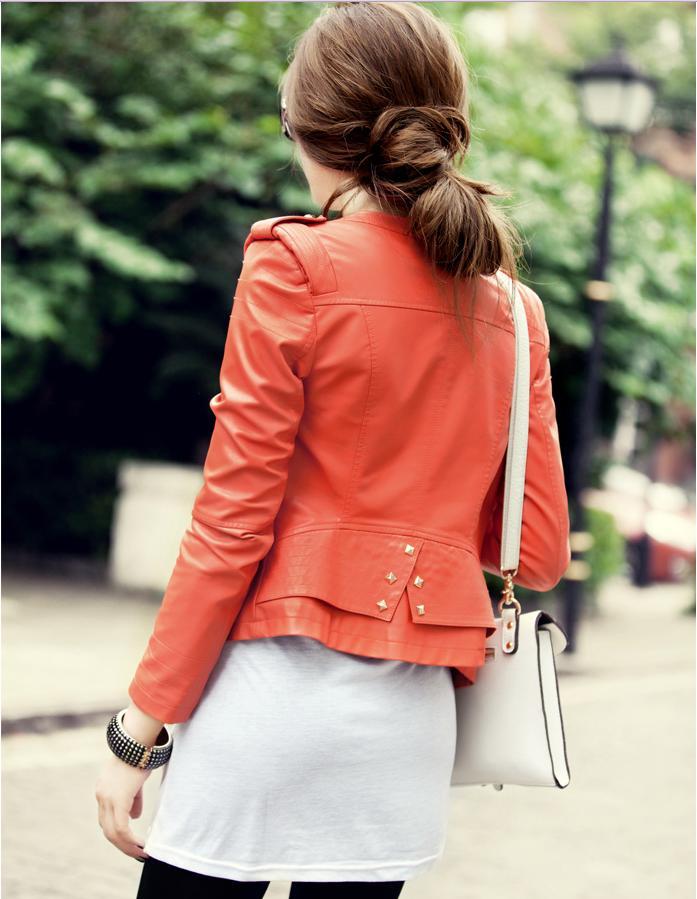 chaqueta de cuero naranja  kitykatblog