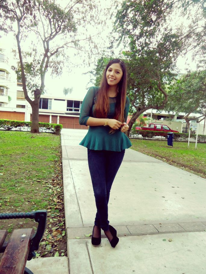 peplum top green